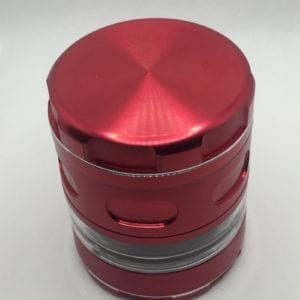 3 Inch Red 4 Pieces Metal Grinder with Window for Spices, Herb and weed